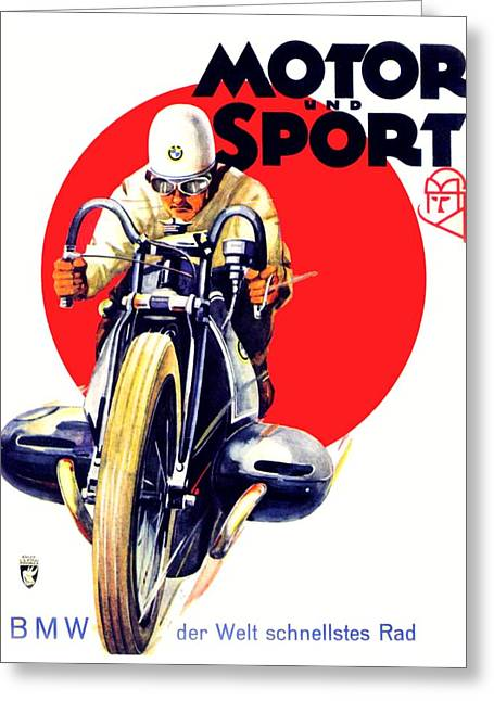 1929 - Bmw Motorcycle Poster - Color Greeting Card