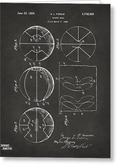 1929 Basketball Patent Artwork - Gray Greeting Card