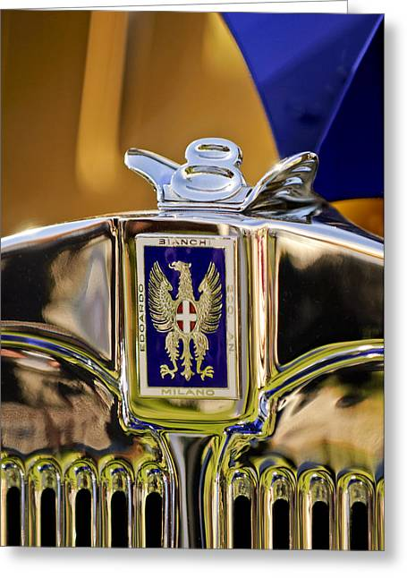 1929 Bianchi S8 Graber Cabriolet Hood Ornament And Emblem Greeting Card by Jill Reger