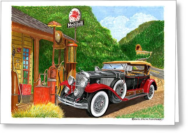 1929 Cadillac Dual Cowl Phaeton And Pegasus Greeting Card by Jack Pumphrey