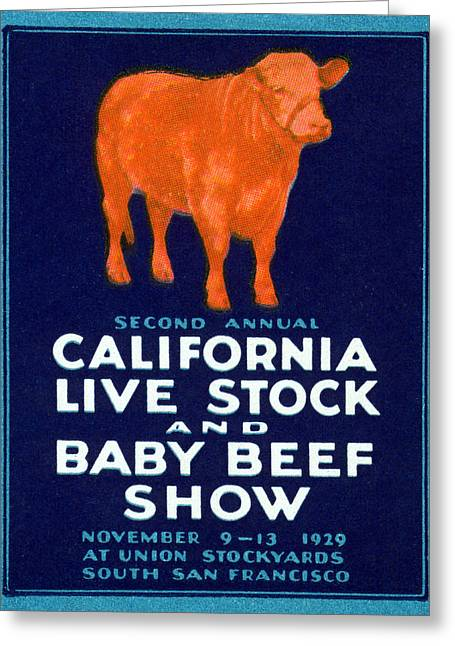 1929 California Beef Greeting Card by Historic Image
