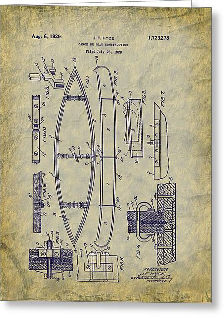 1929 Canoe Construction Patent Art Greeting Card by Barry Jones
