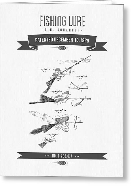 1929 Fishing Lure Patent Drawing Greeting Card by Aged Pixel