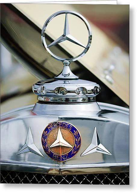 1929 Mercedes-benz Ss Barker Roadster Hood Ornament - Emblem Greeting Card