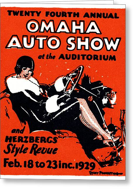 1929 Omaha Auto Show Greeting Card by Historic Image