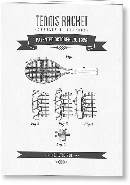 1929 Tennis Racket Patent Drawing - Retro Gray Greeting Card by Aged Pixel