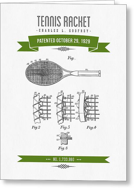 1929 Tennis Racket Patent Drawing - Retro Green Greeting Card by Aged Pixel