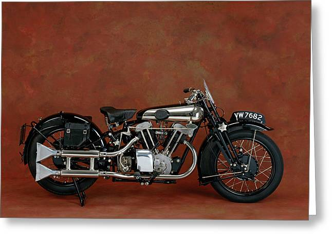 1930 Brough Superior 680cc V-twin Greeting Card