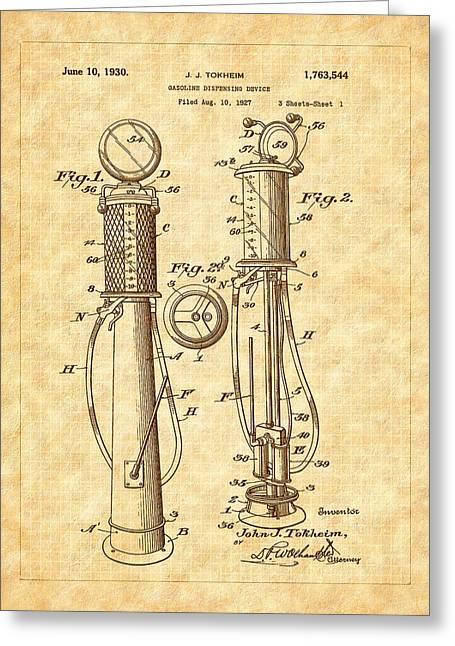 1930 Classic Gas Pump Patent - Automotive - Historical Greeting Card