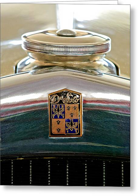 1930 Desoto K Hood Ornament Emblem Greeting Card