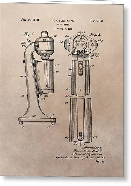 1930 Drink Mixer Patent Greeting Card