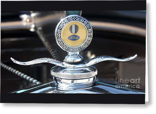 1930 Ford Model A - Hood Ornament - 7488 Greeting Card by Gary Gingrich Galleries