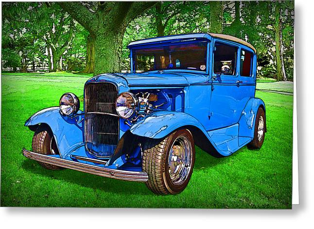 Greeting Card featuring the digital art 1930 Ford by Richard Farrington