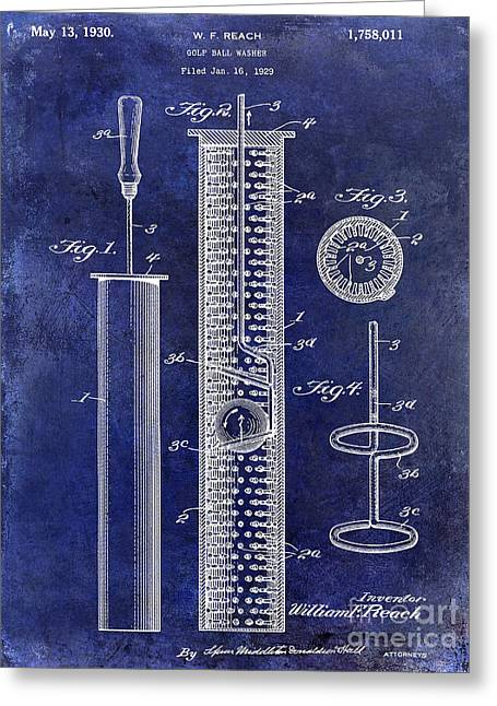 1930 Golf Ball Washer Patent Drawing Blue Greeting Card by Jon Neidert