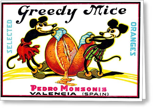 1930 Greedy Mice Crate Label Greeting Card by Historic Image