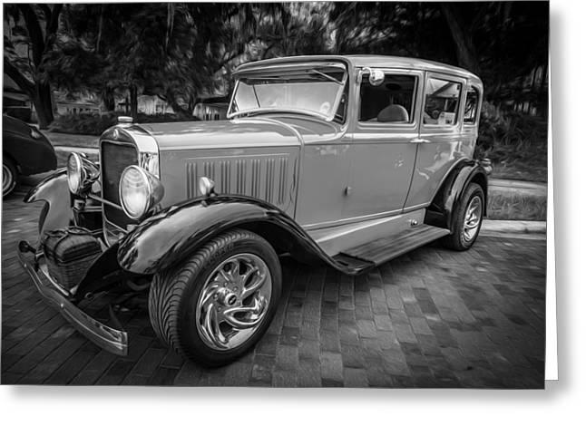 1930 Studebaker Sedan Painted Bw     Greeting Card by Rich Franco