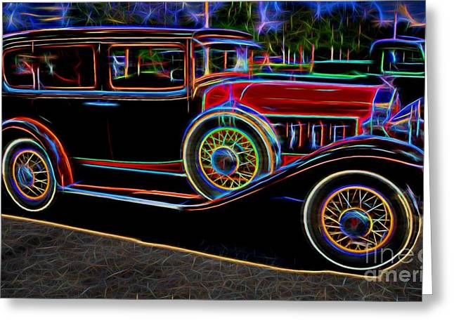 1930 Willys-knight 66 B Sedan - Neon Greeting Card by Gary Whitton