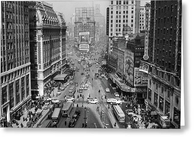 1930s 1935 Times Square Looking North Greeting Card
