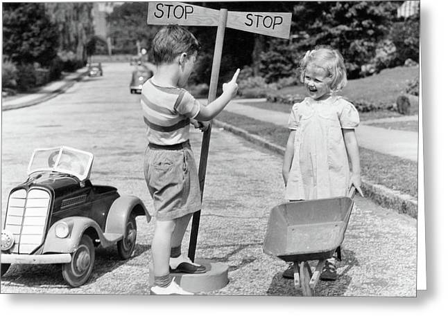 1930s 1940s Boy Playing Traffic Cop Greeting Card