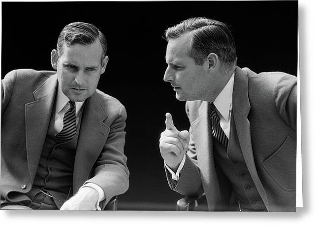 1930s 1940s Businessman Talking Greeting Card