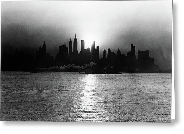 1930s 1940s Early Morning Misty Sunrise Greeting Card