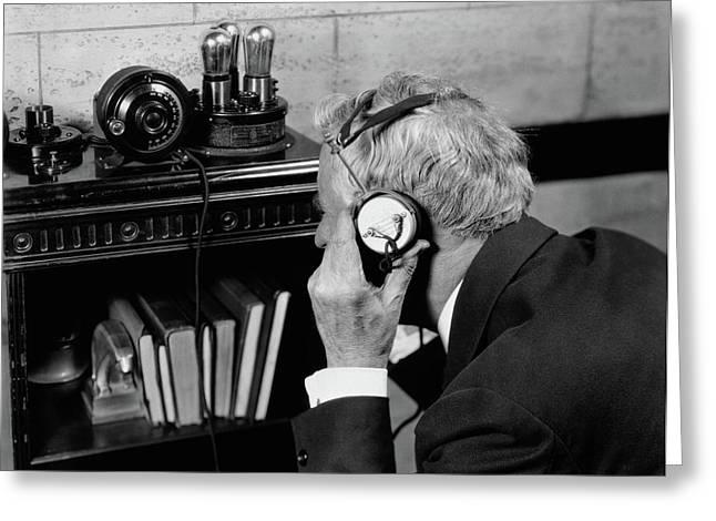 1930s 1940s Elderly Man Listening Greeting Card