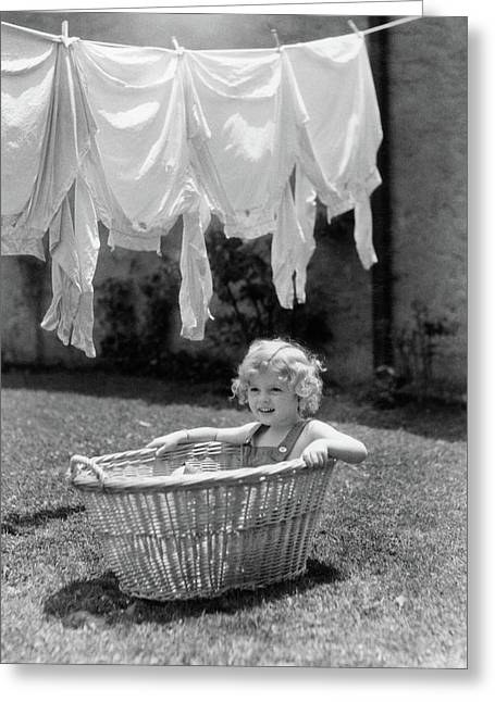 1930s 1940s Girl Outdoors Sitting Greeting Card