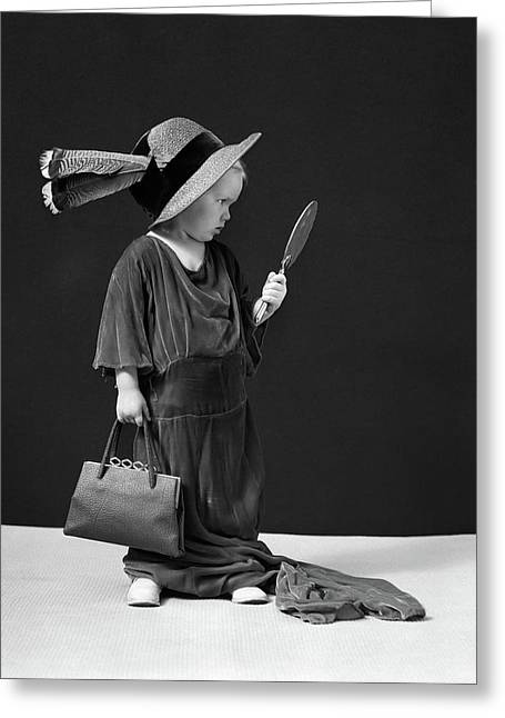 1930s 1940s Girl Playing Dress-up Greeting Card