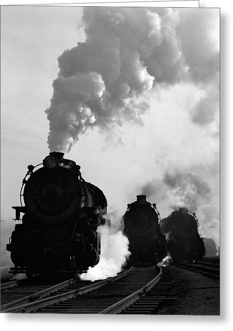 1930s 1940s Head-on View Of Three Steam Greeting Card