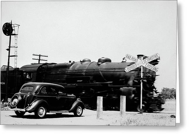 1930s Automobile Stopped At Railroad Greeting Card