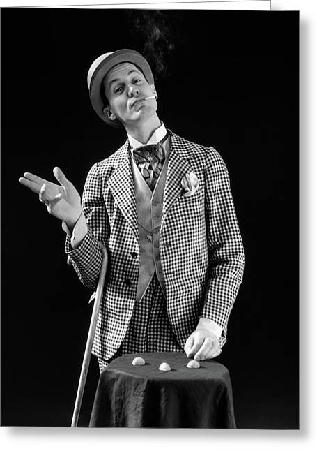 1930s Barker In Checkered Suit & Greeting Card
