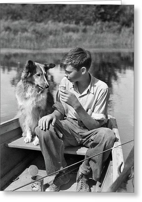 1930s Boy And Collie Dog Together Greeting Card