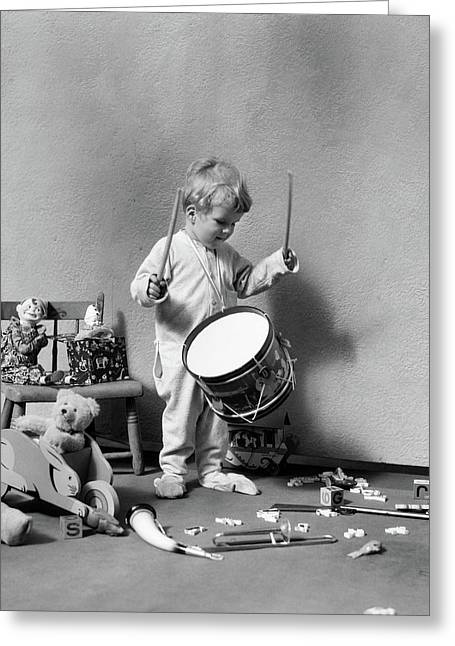 1930s Boy In Pajamas Beating On Toy Greeting Card