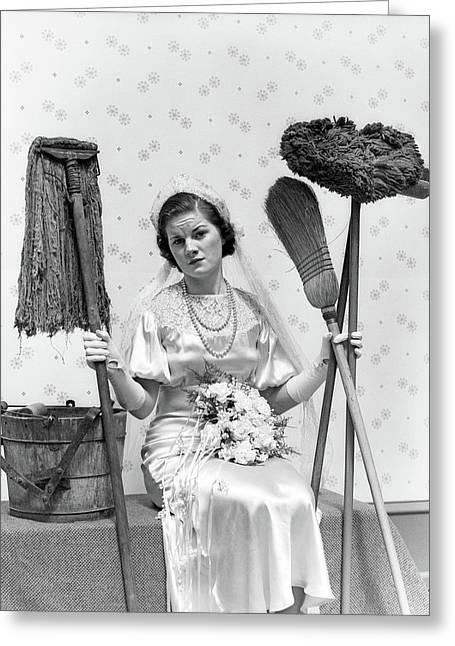 1930s Bride Seated Next To Bucket Greeting Card