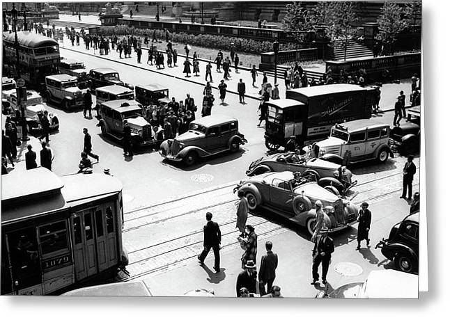 1930s Busy Intersection Fifth Avenue Greeting Card