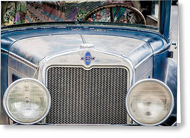Greeting Card featuring the photograph 1930's Chevy Headlights by Dawn Romine