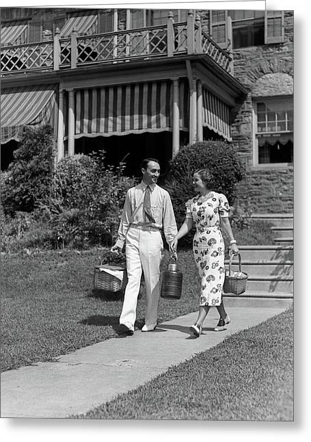 1930s Couple Walking Out Of House Greeting Card