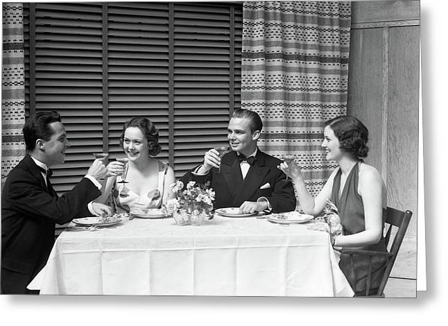 1930s Dinner Party Two Couples Greeting Card