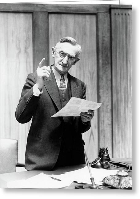 1930s Elderly Man In Office Standing Greeting Card