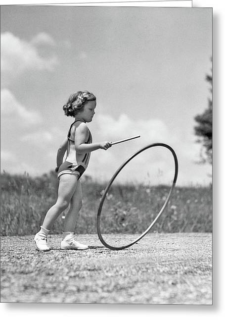 1930s Girl Outdoors Rolling A Hoop Greeting Card
