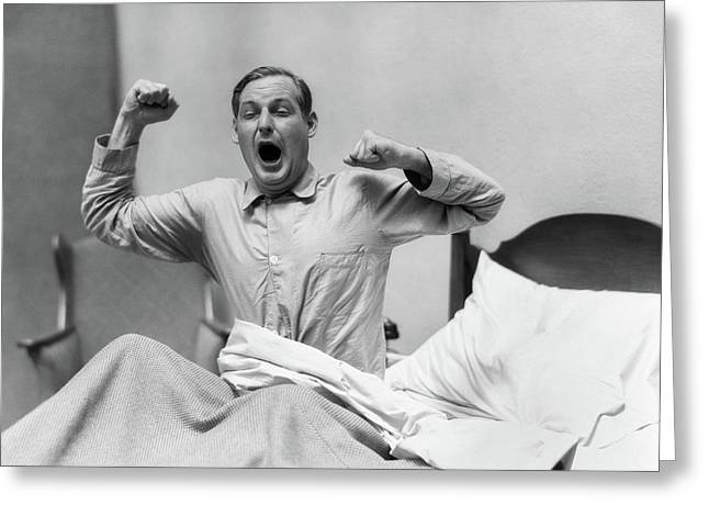 1930s Man In Bed Waking Up Yawning Greeting Card