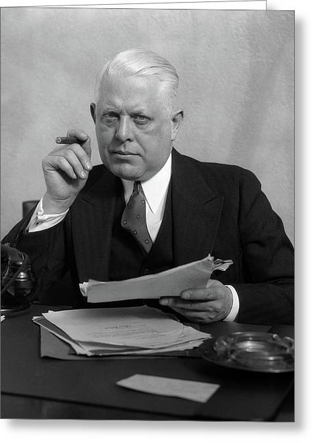 1930s Man In Office Sitting At Desk Greeting Card