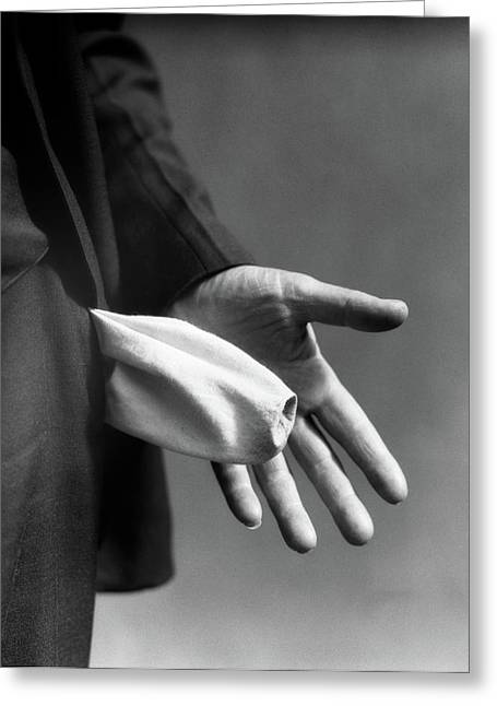 1930s Mans Hand Turning Empty Pants Greeting Card