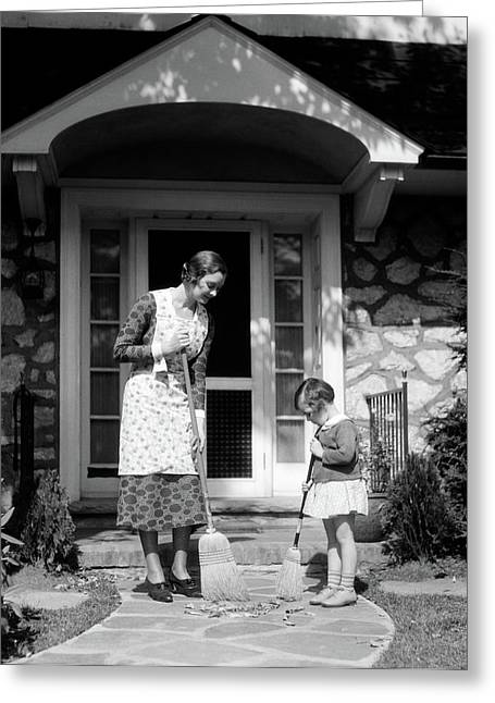 1930s Mother And Daughter Sweeping Greeting Card