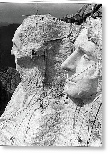 1930s Mount Rushmore Under Construction Greeting Card