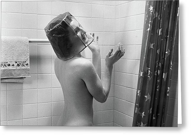1930s Nude Woman In Shower Wearing Greeting Card
