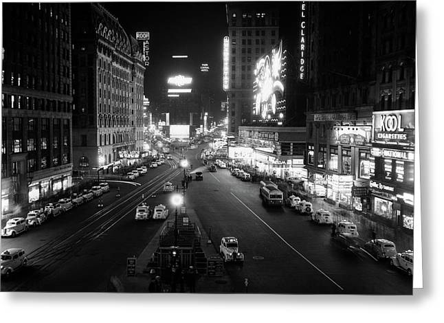 1930s Overhead Of Times Square Lit Greeting Card