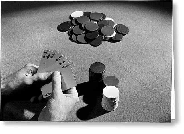 1930s Playing Cards Poker Chips Greeting Card