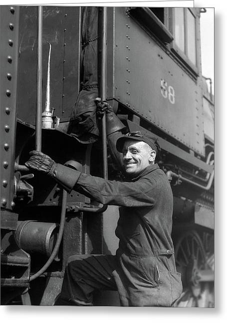 1930s Railroad Worker In Coveralls Hat Greeting Card