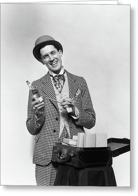 1930s Smiling Barker In Checkered Suit Greeting Card